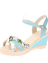 Sandals Spring Comfort PU Casual Flat Heel Others Blue Pink White
