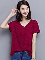 Damen Solide Einfach Lässig/Alltäglich Übergröße T-shirt,V-Ausschnitt Sommer Kurzarm Rot Grau Polyester Mittel
