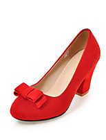 Heels Spring Summer Fall Winter Club Shoes Fleece Office & Career Dress Casual Chunky Heel Bowknot Black Red