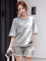 Korean version of casual sports suit female summer short-sleeve big yards loose jogging shorts sportswear piece