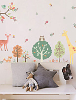 Wall Stickers Wall Decals Style Cartoon Giraffe Park PVC Wall Stickers