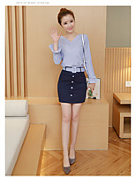 Sign spring new long-sleeved V-neck striped shirt + package hip skirt two-piece dress fashion skirt suit women
