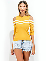 Women's Going out Casual/Daily Holiday Sexy Simple Street chic Summer T-shirt,Striped Round Neck Sleeveless Black Yellow Cotton Polyester