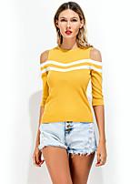 Feminino Camiseta Para Noite Casual Férias Simples Moda de Rua Verão,Listrado Algodão Poliéster Decote Redondo Meia Manga