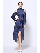 YZXH  Women's Going out Party/Cocktail Club Boho Street chic Swing DressPolka Dot Stand Asymmetrical Long Sleeve Blue Polyester Spring FallMid