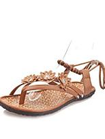 Sandals Spring Comfort PU Casual Flat Heel Others Black Brown