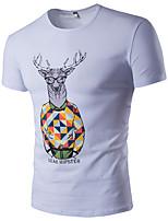 Tee-shirt Homme,Imprimé Décontracté / Quotidien Sportif Grandes Tailles simple Actif Eté Manches Courtes Col Arrondi Coton Rayonne Fin