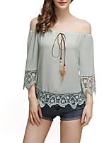 Women's Going out Casual/Daily Sexy Simple Spring Fall T-shirtPatchwork Lace Hollow Out Backless Boat Neck  Sleeve Medium