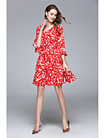 Women's Going out Casual/Daily Beach Sexy Cute Street chic Swing Dress,Print V Neck Asymmetrical ¾ Sleeve Polyester Spring Fall Mid Rise