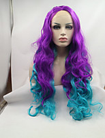 Sylvia Synthetic Lace Front Wig Light Purple To Blue Ombre Natural Wave Heat Resistant Synthetic Wigs
