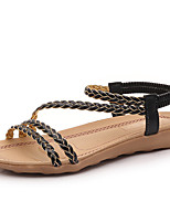Sandals Summer Mary Jane PU Outdoor Office & Career Dress Flat Heel Braided Strap Black Beige