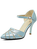 Heels Spring Summer Fall Club Shoes Leatherette Casual Stiletto Heel Buckle Pink White Light Blue