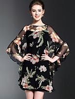 Для женщин На каждый день Пружинный лето Рубашка Платья Костюмы Круглый вырез,просто Цветочный принт Рукав ¾,Шелк