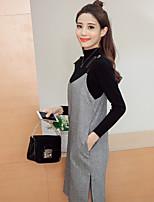 знак 2017 весна водолазка шерстяная двухсекционный платье платье ремень женский корейский