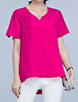 Women's Plus Size Casual/Daily Work Vintage Simple Street chic Summer Blouse,Solid V Neck Short Sleeve Special Leather Types