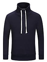 Sweatshirt Hommes Grandes Tailles Décontracté / Quotidien simple Couleur Pleine Mao Micro-élastique Coton Manches LonguesPrintemps