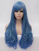 cosplay perruques dégradé bleu perruques couleur perruque en Europe et Amérique mode des points partiels long cheveux bouclés 26 pouces
