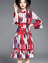 Women's Going out Cute Swing Dress,Print Round Neck Knee-length Long Sleeve Polyester Spring Summer Mid Rise Micro-elastic Medium