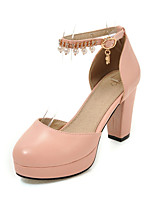Heels Club Shoes PU Office & Career Party & Evening Dress Chunky Heel Rhinestone Pearl Buckle Black Pink White