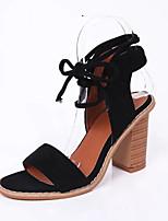 Women's Sandals Spring Summer Fall Comfort Leatherette Office & Career Dress Chunky Heel Block Heel Lace-up Black Camel Burgundy