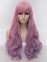 cosplay perruques europe et les etats-unis perruque mode côté rose souligne longs cheveux bouclés 30 pouces