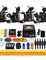 Complete Beginner Tattoo Kit 4 Pro Machine Power Supply Needle Grips TKD02
