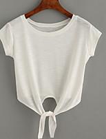 Tee-shirt Femme,Couleur Pleine Sortie Décontracté / Quotidien Vacances simple Chic de Rue Eté Manches Courtes Col Arrondi Blanc GrisCoton