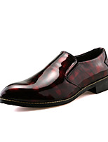 Men's Oxfords Spring Summer Comfort Leather Office & Career Party & Evening Casual Flat Heel Black/Red Black