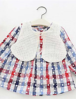 Girl's Plaid Dress,Cotton Spring Fall Long Sleeve