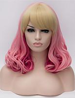 cosplay perruques europe et les etats-unis perruque mode côté rose souligne longs cheveux bouclés 16 pouces
