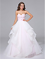 Lanting Bride® Ball Gown Plus Sizes Wedding Dress - Chic & Modern Open Back Sweep / Brush Train Sweetheart Organza withBeading / Lace /