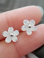 Non Stone Flower Stud Earrings Jewelry Flower Style Fashion Casual Sports Sterling Silver 1 pair White