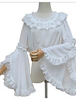 Blouse/Shirt Sweet Lolita Cosplay Lolita Dress Black White Beige Solid Poet Long Sleeve Lolita For FRP