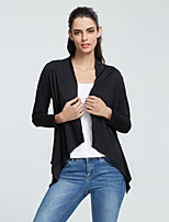 Women's Going out / Casual/Daily Simple / Street chic Regular CardiganSolid Black Notch Lapel Long Sleeve Rayon