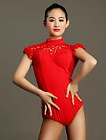Latin Dance Leotards Women Training Rayon Lace Lace 1 Piece Short Sleeve High Leotard