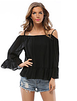 Women's Casual/Daily Simple Cute Spring Summer BlouseLeopard Patchwork Round Neck Short Sleeve Polyester Opaque Thin