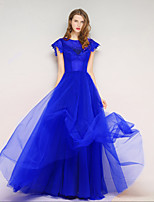 Formal Evening Dress A-line Jewel Floor-length Tulle with Pearl Detailing