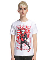 Men's Going out Casual/Daily Holiday Simple Street chic T-shirt,Print Round Neck Short Sleeve Cotton Polyester