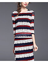 Women's Casual/Daily Party/Cocktail Vintage Simple Sophisticated Spring Sweater Dress Suits,Floral Print Letter Round Neck ¾ SleeveLace