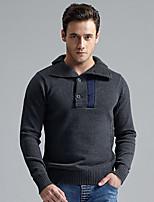 Herren Standard Pullover-Lässig/Alltäglich Einfach Boho Solide Hemdkragen Langarm Wolle Acryl Polyester Herbst Winter Mittel