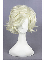 Court curly touget ranbu en ligne gokotai beige synthétique 14inch cosplay anime cheveux perruque cs-231b