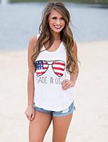 Damen Druck Einfach Street Schick Ausgehen Lässig/Alltäglich T-shirt,Rundhalsausschnitt Frühling Sommer Ärmellos Baumwolle Undurchsichtig