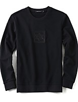 Men's Casual/Daily Simple Sweatshirt Solid Round Neck Micro-elastic Cotton Long Sleeve Spring