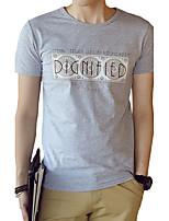 Tee-shirt Homme,Couleur Pleine Lettre Décontracté / Quotidien Plage Grandes Tailles simple Chic de Rue Actif Eté Manches CourtesCol