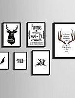 E-HOME® Framed Canvas Art  Simple Animals And  Letters  (2) Theme Series Framed Canvas Print One Pcs