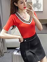 Women's Casual/Daily Formal Cute Street chic Spring Summer T-shirt,Solid V Neck Short Sleeve Spandex Medium