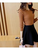 Damen Kurz Pullover-Lässig/Alltäglich Solide Asymmetrisch Langarm Polyester Frühling Dünn Dehnbar