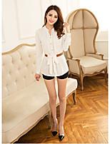 2016 spring new Korean chiffon shirt Slim casual lace chiffon shirt