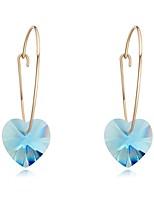 Brincos Compridos Cristal Amor Moda Cristal Chapeado Dourado Áustria Cristal Forma Geométrica Fúcsia Rosa Verde Azul Azul Claro Jóias Para