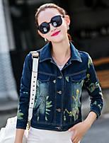 Для женщин Спорт Весна Джинсовая куртка Воротник-стойка,просто Однотонный Короткие Длинный рукав,Others